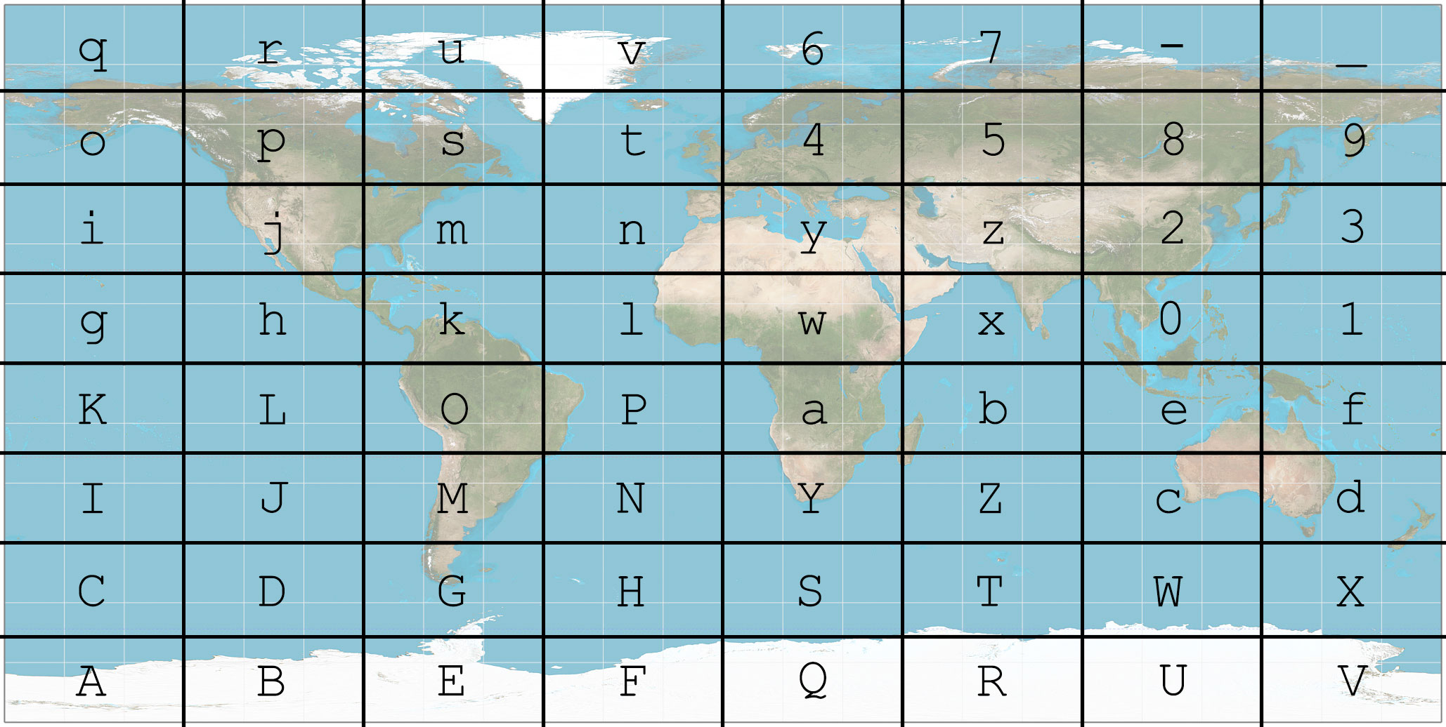 The L64 grid on a world map. (Source for the map: Wikimedia)